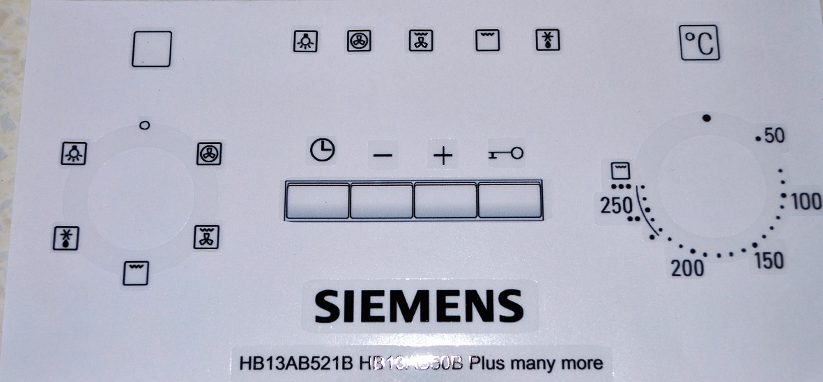 Siemens HB13AB521B, HB13AB50 plus more decal sticker set.