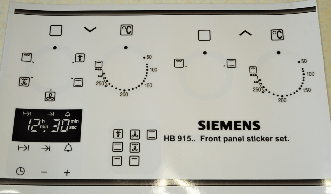 Siemens HB915... series front panel sticker set.