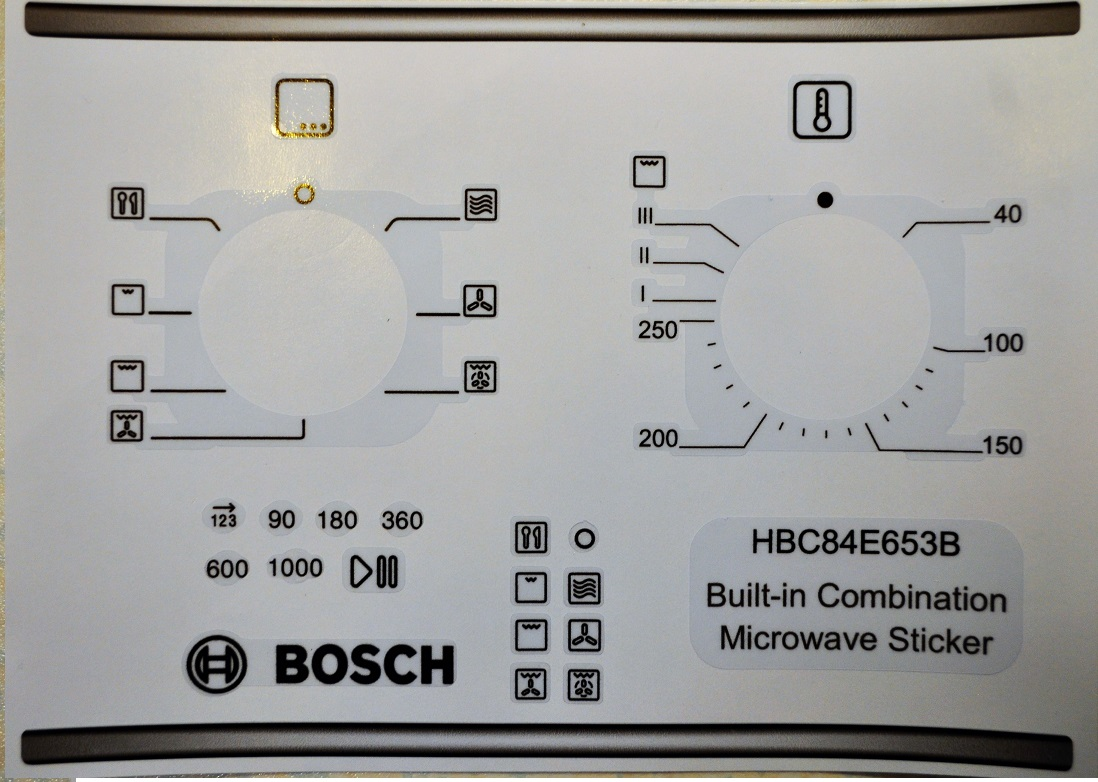Bosch HBC84E653B Oven/Microwave fascia sticker set, fit others.