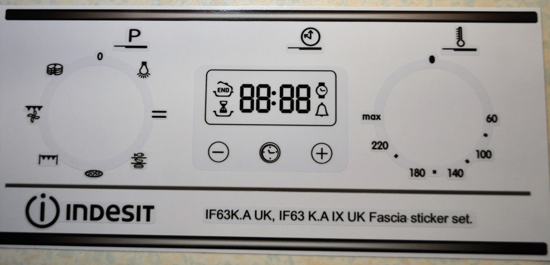 Indesit IF63K.A.UK fascia decal sticker set.