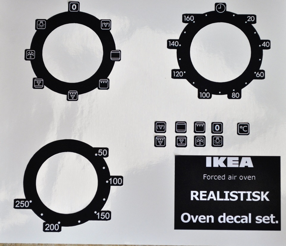REALISTIK Forced air oven sticker set inverted for black.