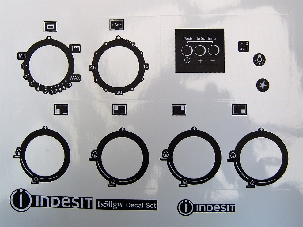 Indesit IS50GW, IS50G1X panel decal stickers in Matt Black.