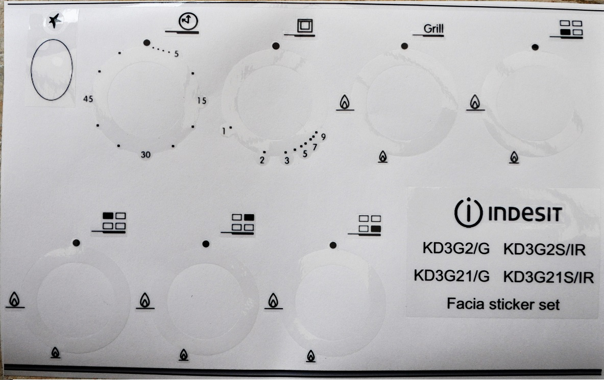 Indesit KD3G2, KD3G2S, KD3G21, KD3G21S panel sticker set.