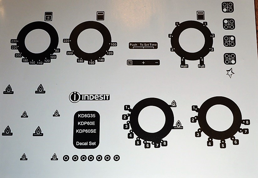 Indesit KD6G35, KDP60E, KDP60SE Inverted for black stickers.