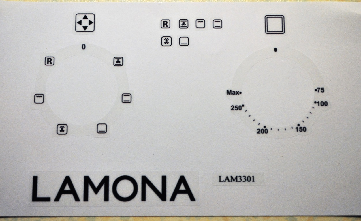 Lamona LAM3301 fan oven oven decal stickers etc.