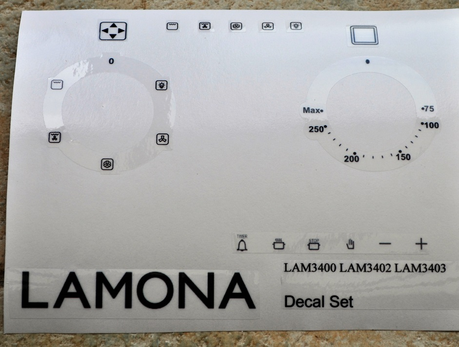 Lamona LAM3400, LAM3402, LAM3403 fan oven oven decal stickers