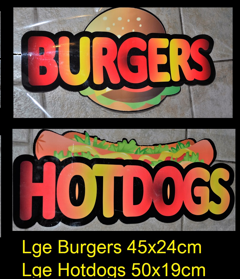 Large Burgers and Hotdogs stickers for catering van..