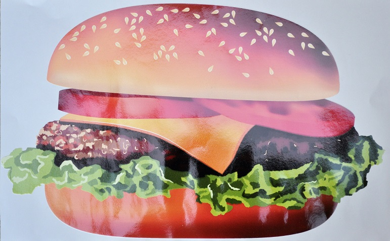 Burger large clipart 30x21cm suitable for internal or external.