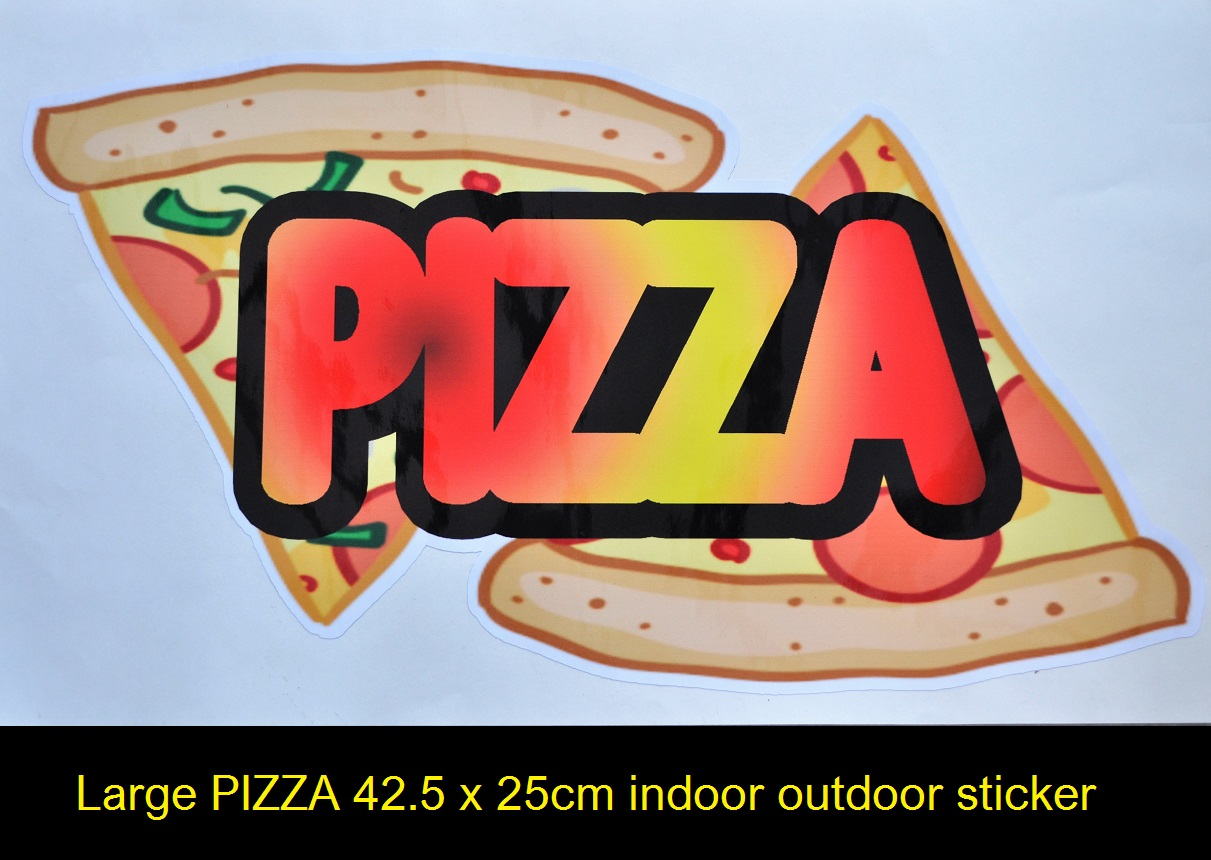 Large PIZZA sticker with graphics 42.5x25cm for catering van etc