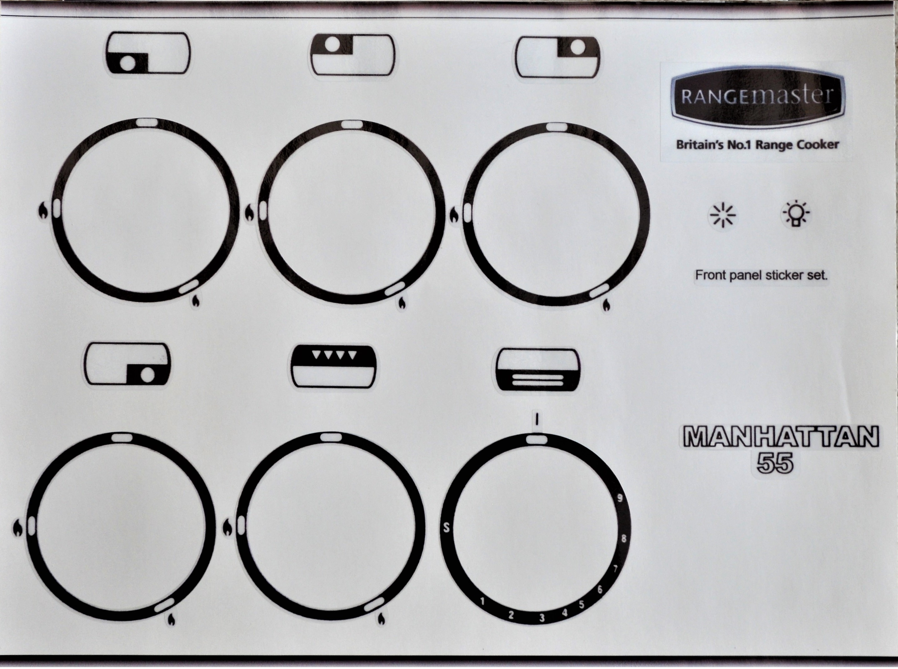 Rangemaster Manhattan 55 cooker front panel sticker set.