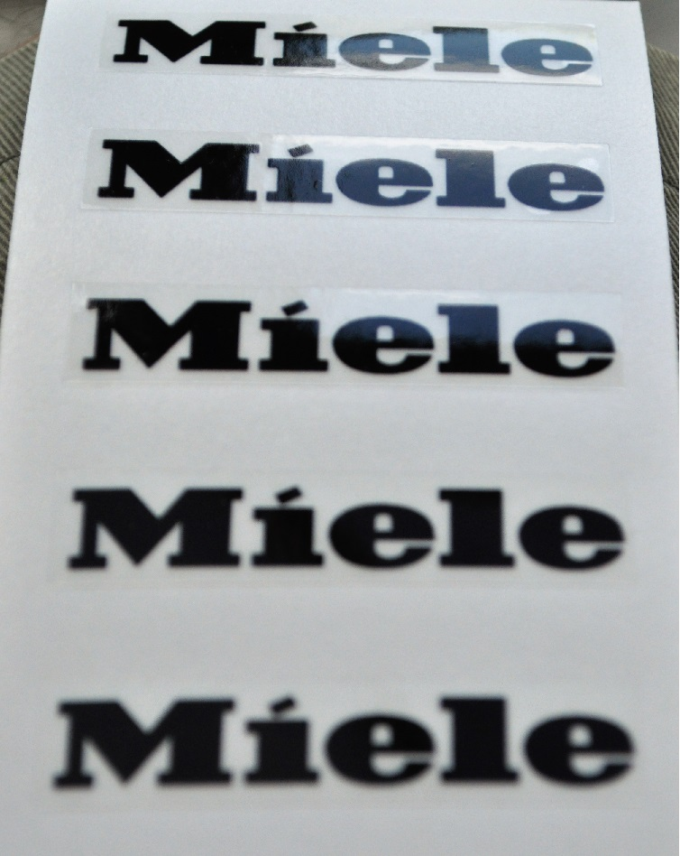 Miele emblem decal sticker labels x 6 approx 5.25cm wide x 8-10m