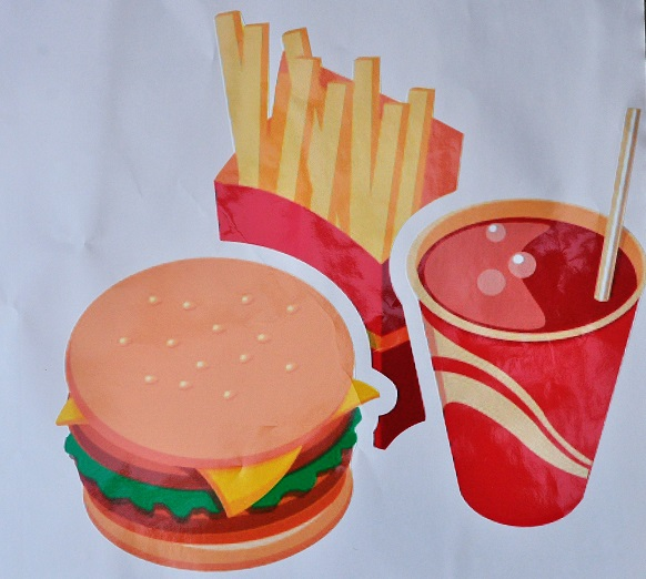 Clipart large stickers mixed chips, drink burger for external.