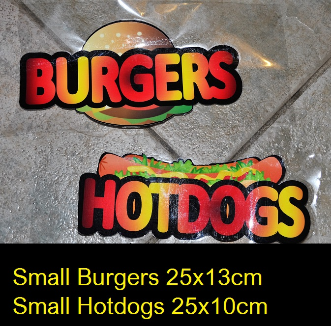 Small Burgers and Hotdogs stickers for catering, burg