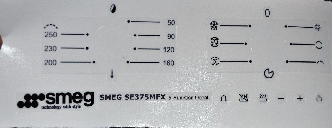 Smeg SE375MFX 5 function decal set..