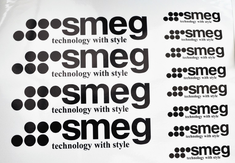 Smeg glossy labels, entire sheet 4 x 17.5cm and 8 x 7.5cm