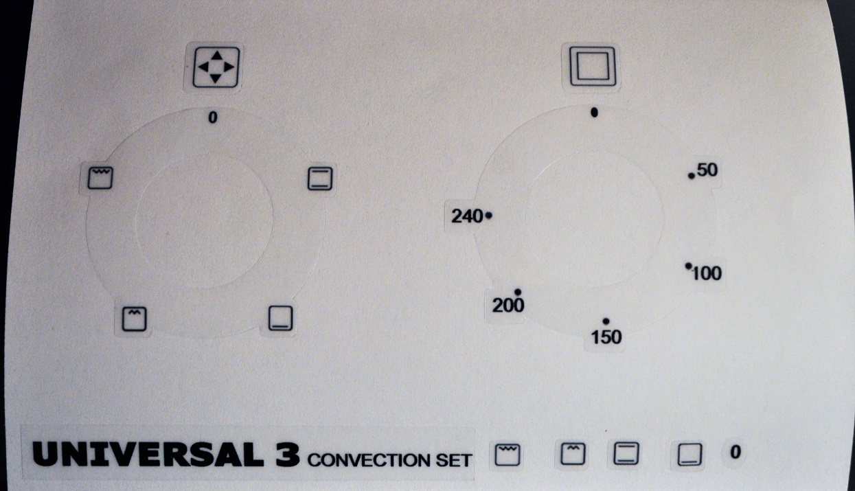 Universal 3 convection oven decal sticker set.