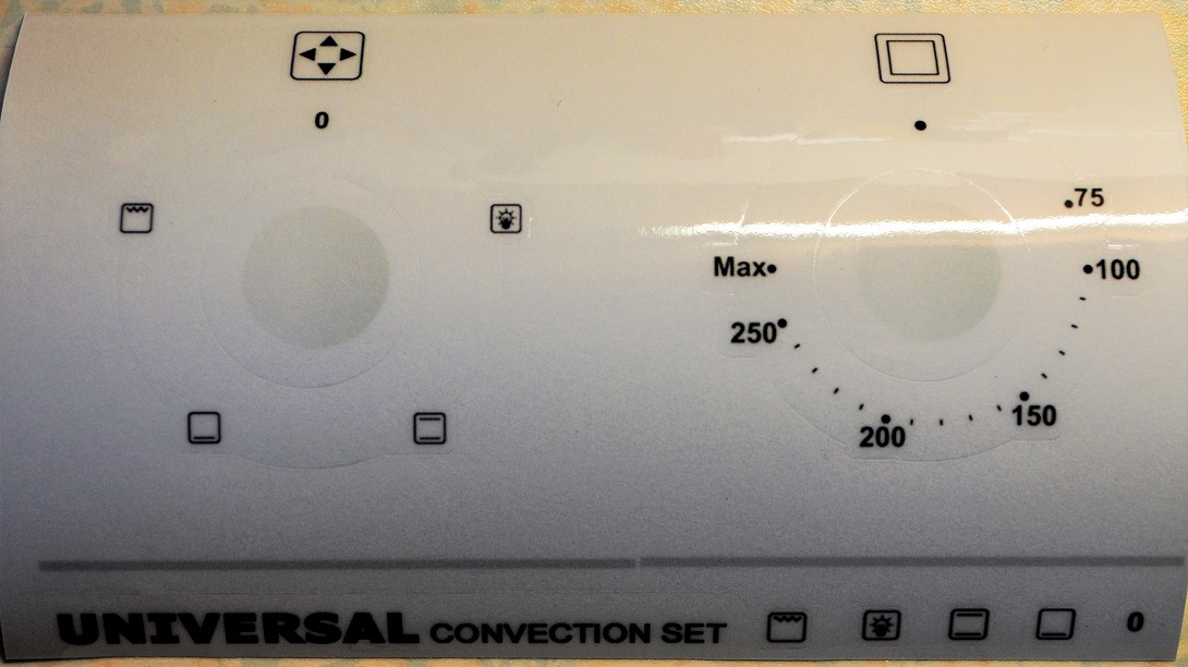 Universal convection oven decal stickers etc.