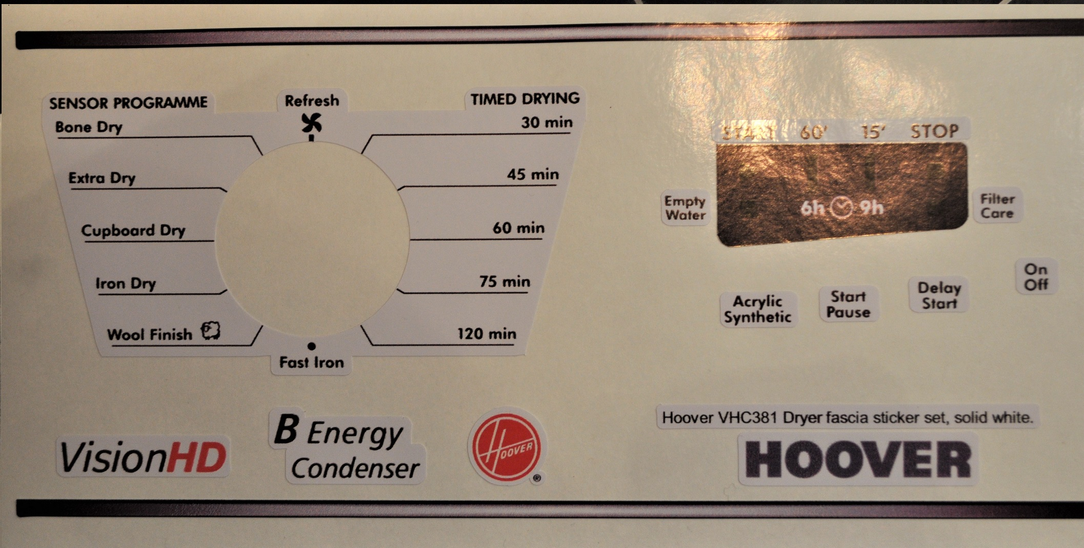 Hoover VHC381 Dryer fascia sticker set.