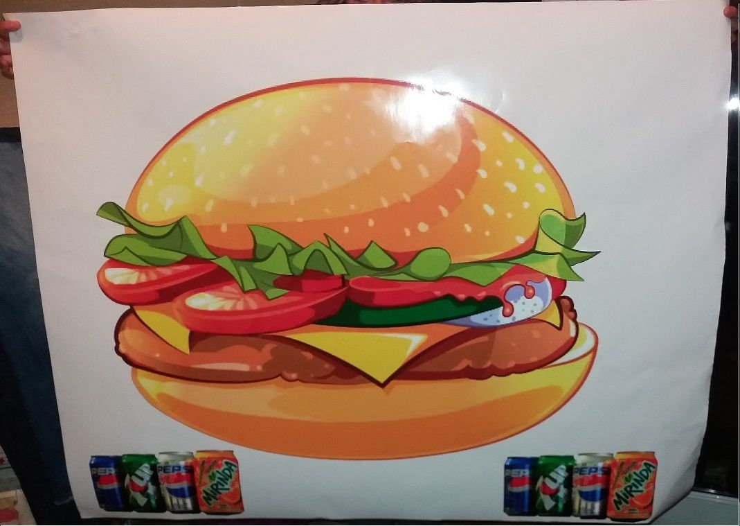 Very large set of burgers and cans, catering van stickers for ex