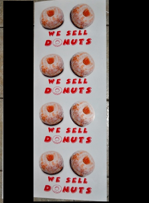 We sell donuts stickers x4 water resistant large.
