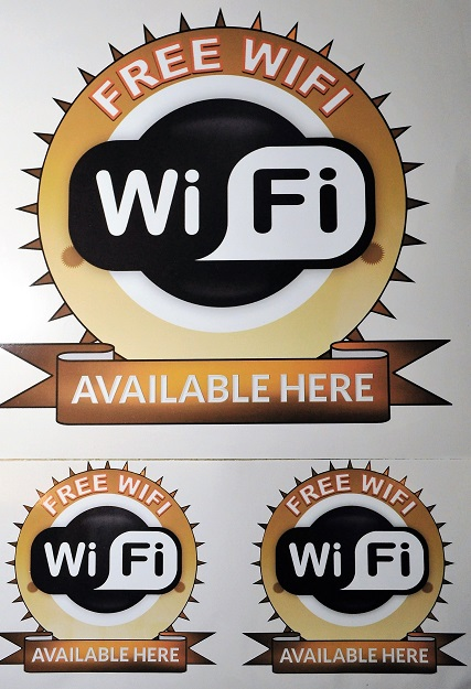 Set of free wifi here stickers 1 x 25cm 2 x 12cm internal or ex.