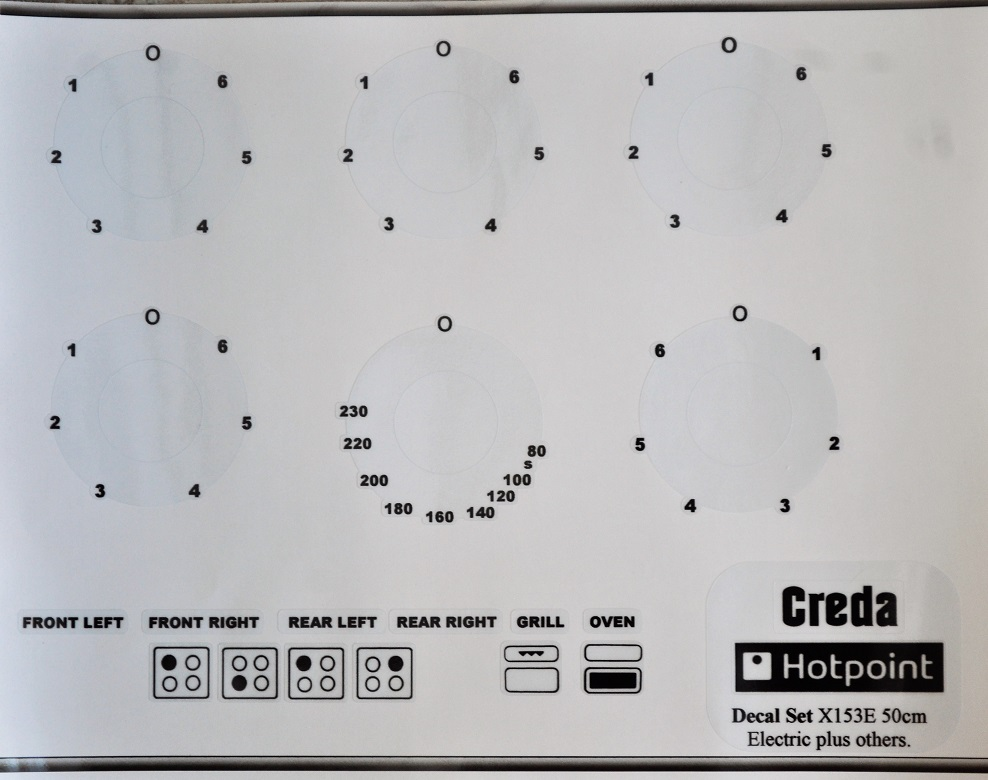 Creda Hotpoint X153E front panel sticker set for worn decals.